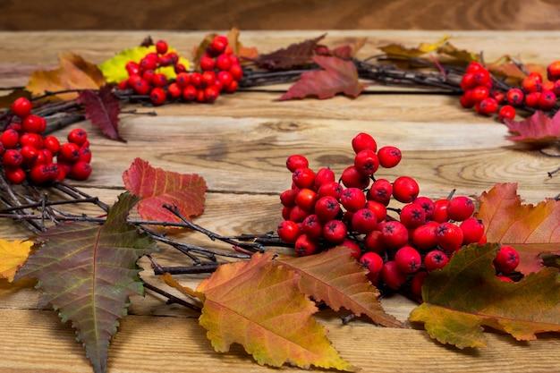 秋の葉の花輪と木製の背景にローワンベリー