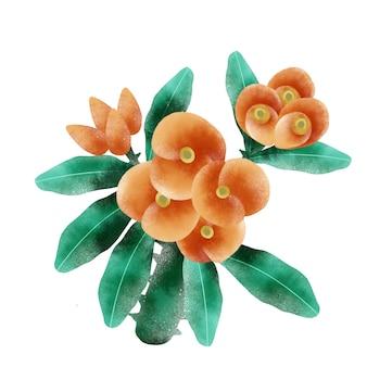 オレンジ色の花の枝