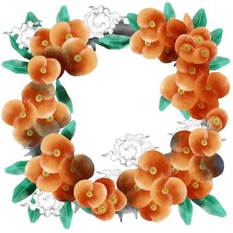 オレンジ色の花のラウンドブーケリース