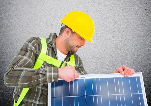 照らさ近代的な空白の太陽エネルギー専門家