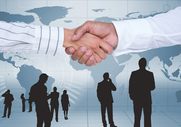 世界のパノラマビジネスビジネスマンの関係