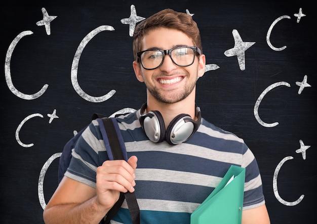 Мужчины скрестив академическое короткое улучшение волос