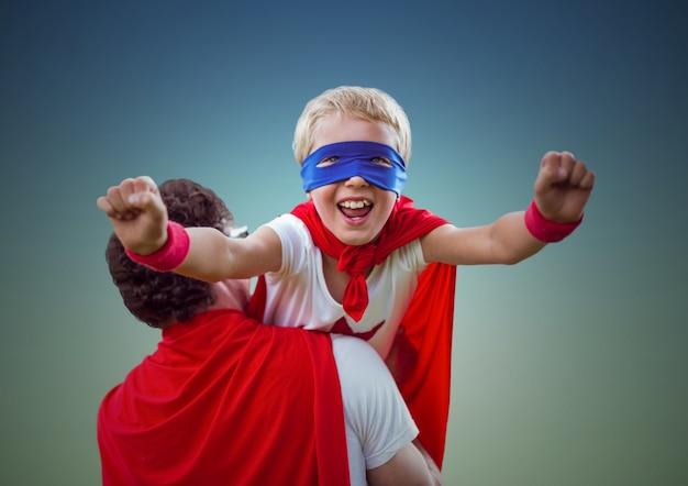 企業の空の日の変装のスーパーヒーロー