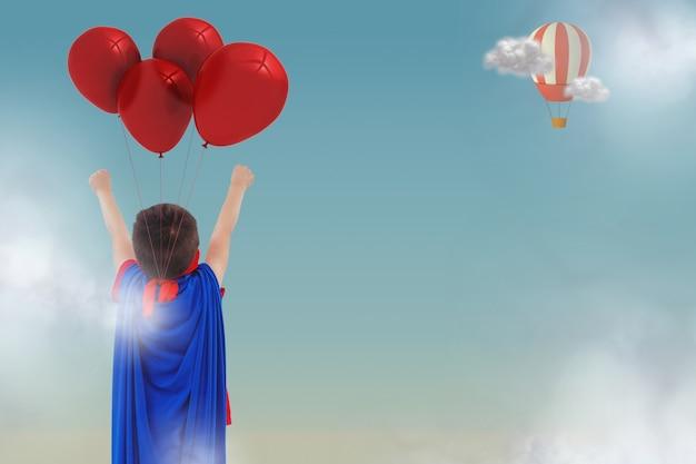 Вид сзади мальчик с плащом и воздушными шарами