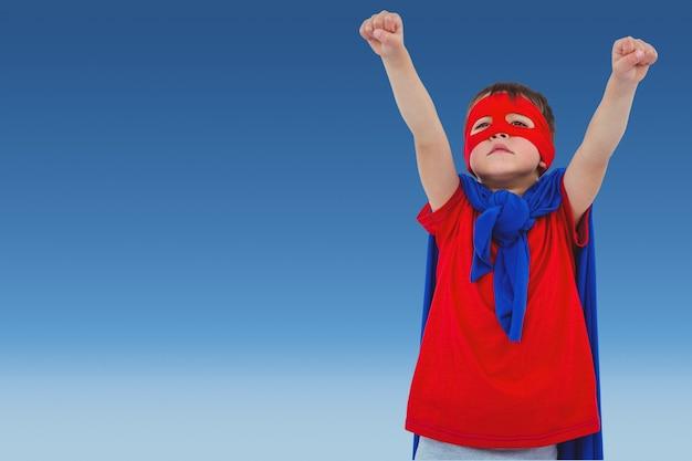 Супергерой с голубой плащ