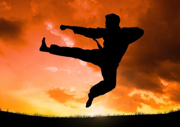 Спортсмен встреча жестикулируя веселое небо