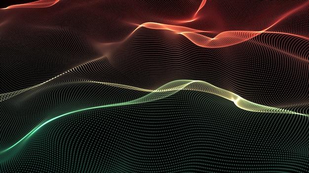 行の背景。抽象的なライン。縞模様、曲線ネオン要素。ダイナミックな背景。プレゼンテーションカバー、緑と赤