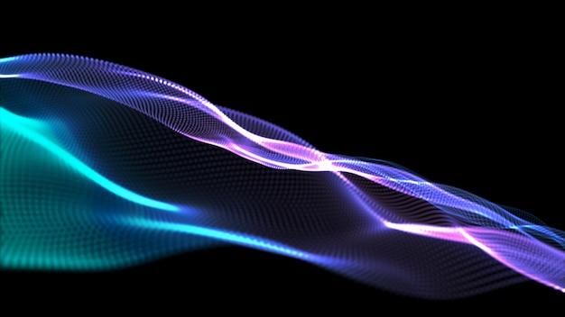 行の背景。抽象的なライン。縞模様、曲線ネオン要素。ダイナミックな背景。プレゼンテーションカバー。青と紫