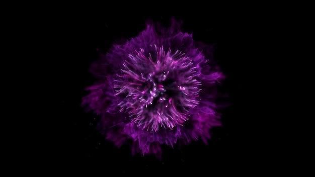 背景を爆発させます。爆発が分離されました。黒の背景。丸い衝撃波。抽象要素。紫
