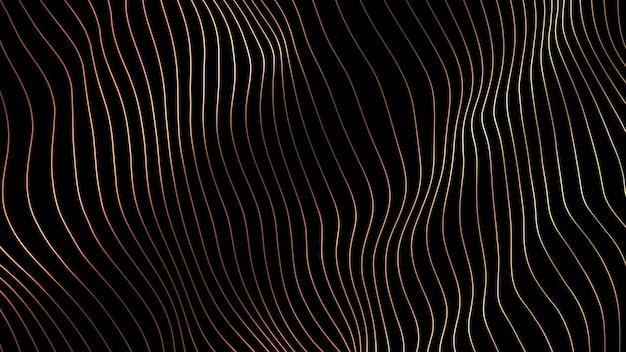 行の背景。抽象的なライン。縞模様、曲線ネオン要素。ダイナミックな背景。プレゼンテーションカバーゴールドカラー