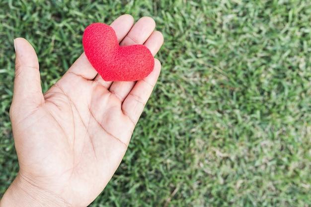 愛の象徴として赤いハートを持っている男の手。バレンタインデー