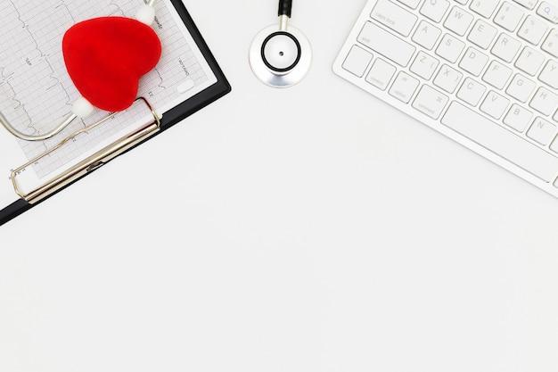 医師の机のテーブル、医師デスクコンセプトの平面図です。