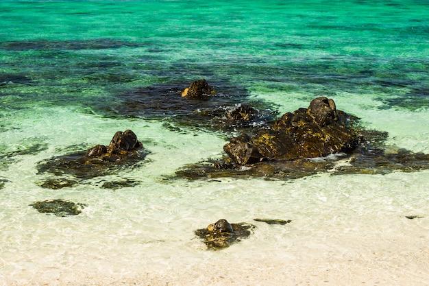 Красивое тропическое море рая и голубое небо с белым песчаным пляжем в таиланде