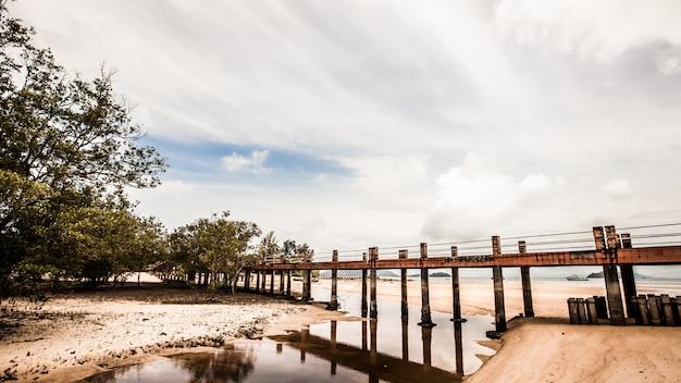 海のビーチの上の橋を歩く