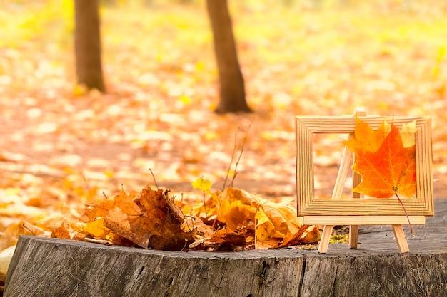 秋の背景概念。カエデの葉を木の切り口に。