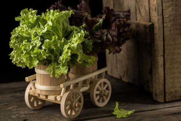 木製カートに新鮮なグリーンレタスのサラダ、