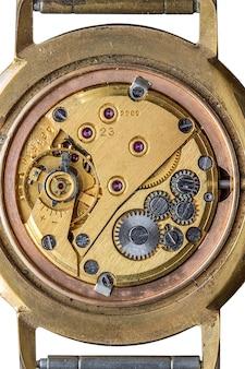 Старый механизм часов макросъемки, вид сверху