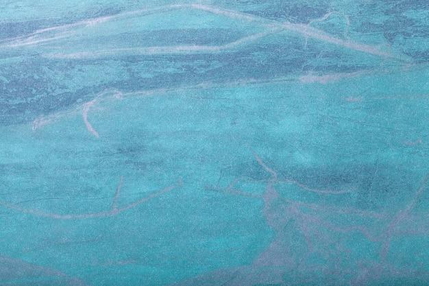 抽象芸術の背景ターコイズとターコイズ色。キャンバス上の多色塗装。
