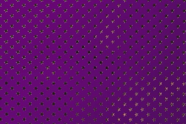 金色の星のパターンを持つ金属箔紙から暗い紫色の背景。