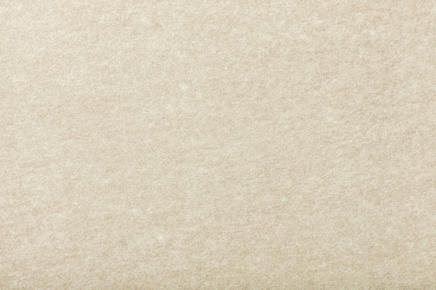 ライトベージュのマットスエード生地のクローズアップ。フェルトのベルベットの質感。