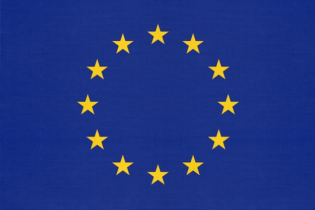 星と欧州連合の公式繊維青い旗。
