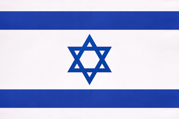 Израиль национальный флаг ткани, символ международного мира восточной страны.