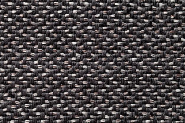 Черно-белая винтажная ткань с тканой текстурой текстильная макро-фон