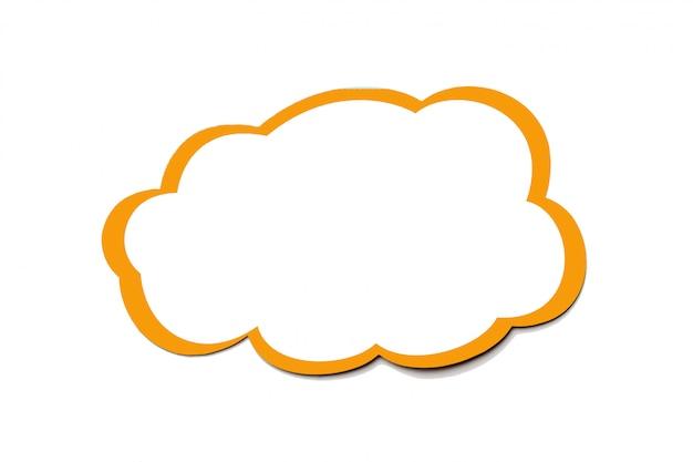 白い背景に分離された黄色の境界線を持つ雲として黄金の吹き出し。コピースペース。