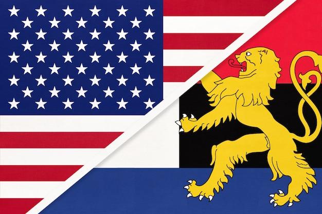 繊維からのアメリカ対ベネルクスの国旗。アメリカとヨーロッパの国の関係。