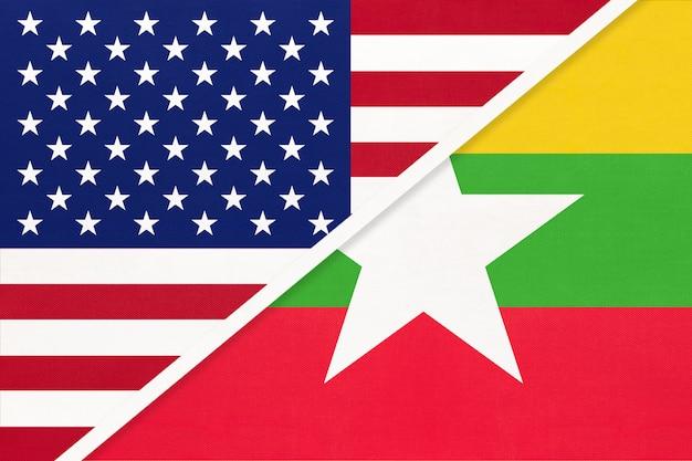 Сша против республики мьянма с национальным флагом из текстиля. отношения между двумя американскими и азиатскими странами.