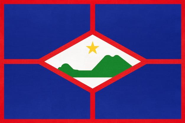 Синт-эстатиус остров национальный флаг ткани, текстильной фона.