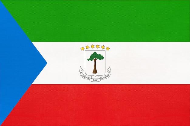 赤道ギニアの国旗、繊維の背景。世界のアフリカの国の象徴。