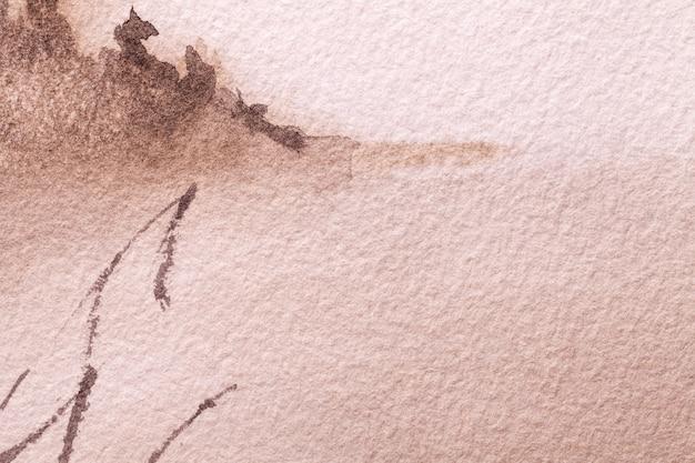 Абстрактное искусство фон светло-коричневого цвета. акварельная живопись на холсте.