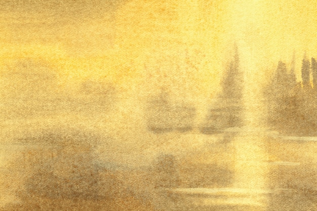 Абстрактное искусство фон светло-желтого и золотого цветов. акварельная живопись на холсте с градиентом мягкой охры.