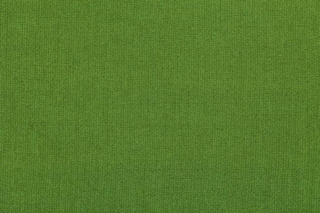パターン、クローズアップで繊維材料からの緑の背景。自然な風合いの生地の構造。