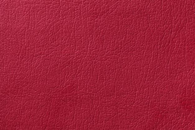 光の赤い革テクスチャ背景。クローズアップ写真