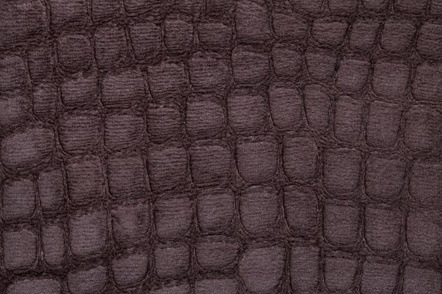 茶色の柔らかい室内装飾用繊維材料、クローズアップ。模様のある生地