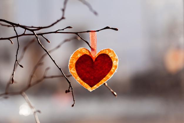 バレンタイン・デー。木の枝に赤の装飾的な心