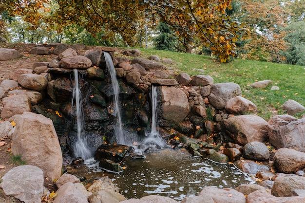 公園内の小さな滝