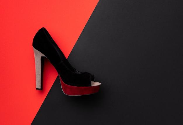 フラットレイトップビュー最小限の構成で靴をダブル赤と黒