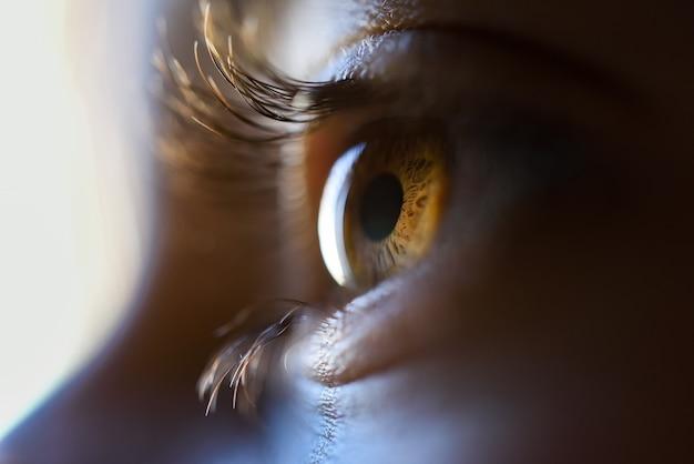 Крупный план красивая маленькая девочка карие глаза