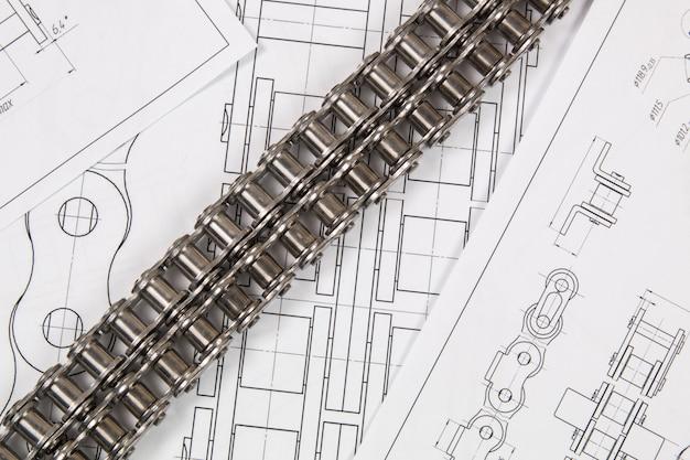 駆動ローラーチェーンと技術設計図。機械工学、金属加工の技術。