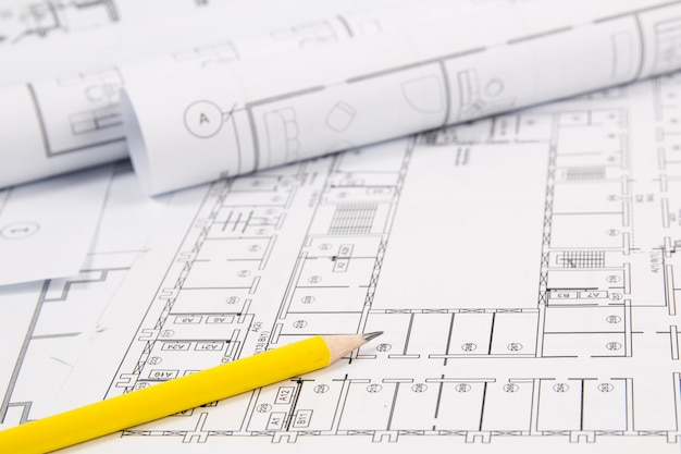 建築計画。エンジニアリングハウスの図面、パンシル、設計図。