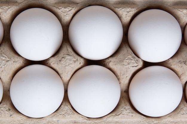 段ボール箱に白い鶏の卵。上面図