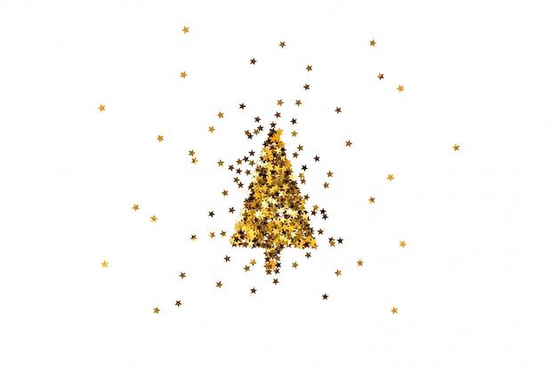 Рождественская елка из блесток в форме звезды. белый фон.
