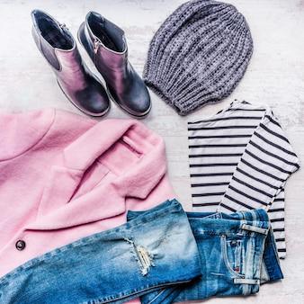 Комплект коллаж из осенне-зимней женской одежды.