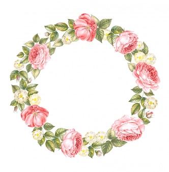 白で分離された赤いバラの花輪のイラスト。