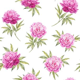 Бесшовный цветочный узор с розами, акварель. векторная иллюстрация