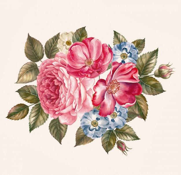 ローズブッシュピンクのバラからのパターン。結婚式の図面水彩画グリーティングカード。