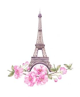 Весна париж иллюстрации.